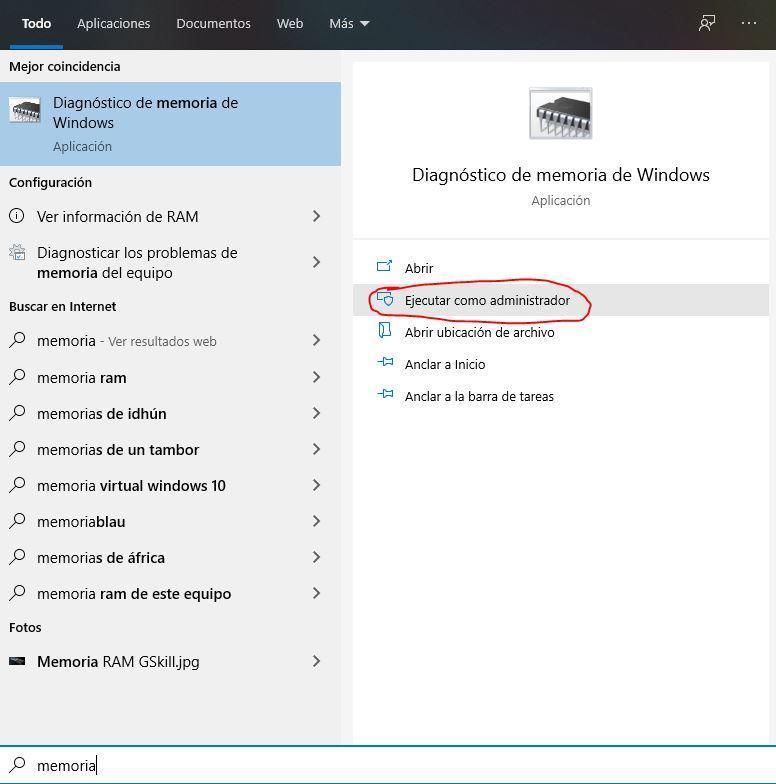 RAM diagnostique Windows