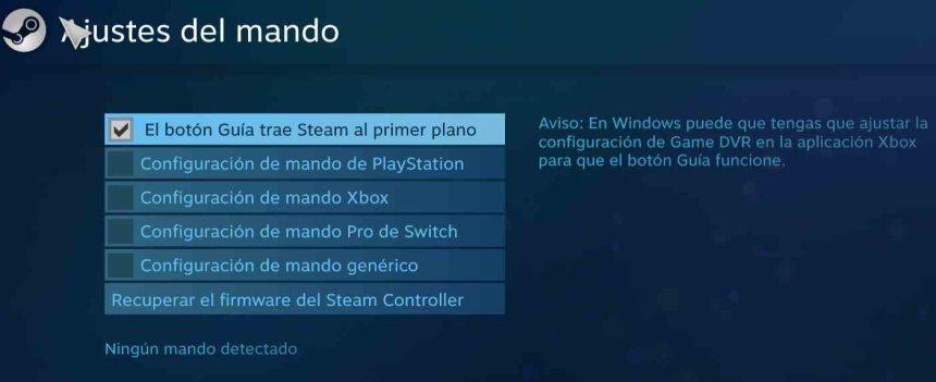 Ajustes Mando Steam