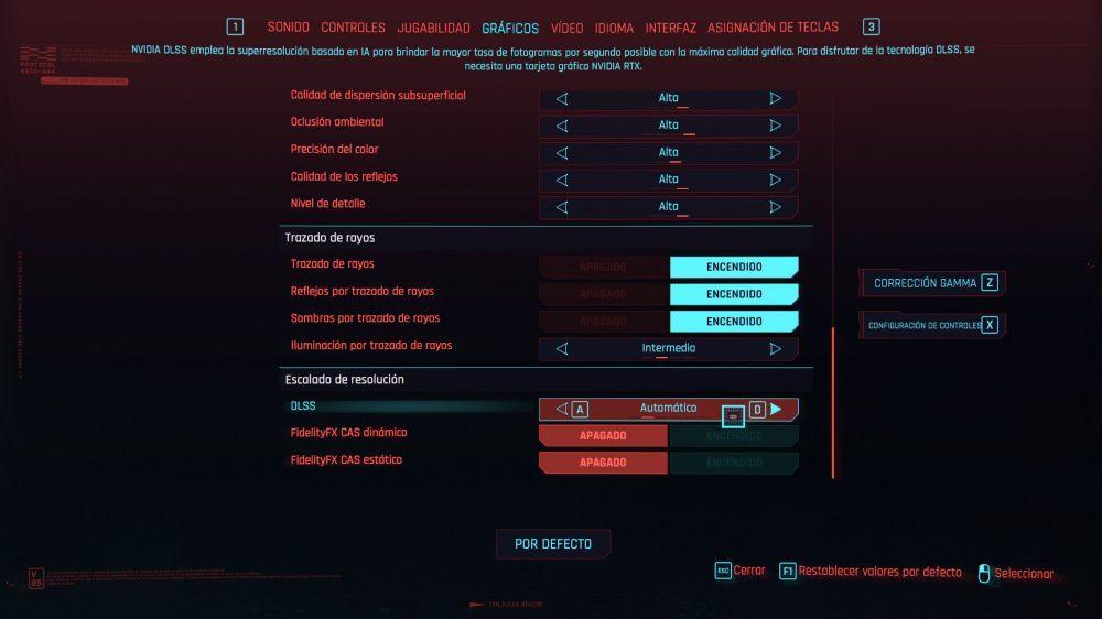 Ajustes gráficos Cyberpunk
