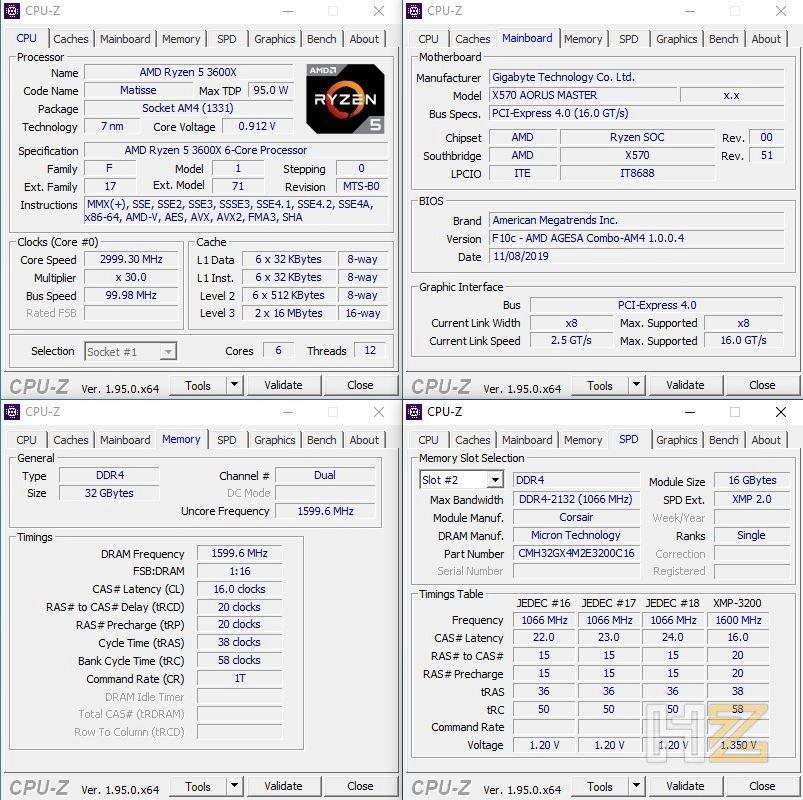 CPUz Corsair Vengeance RGB Pro SL