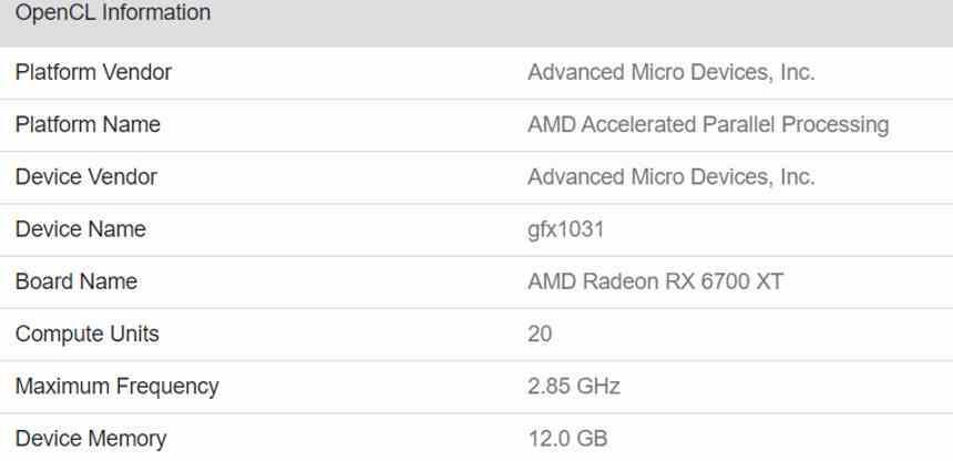 AMD RX 6700 XT Geekbench