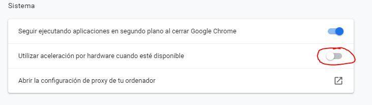Desactivar aceleración Chrome
