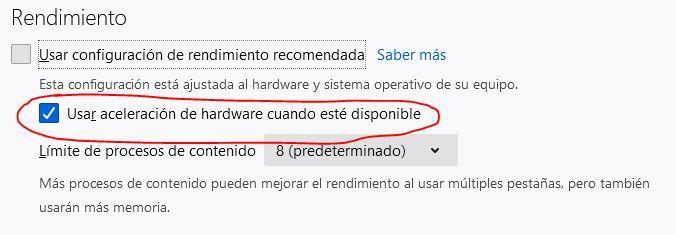 Desactivar aceleración Firefox