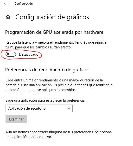 Deshabilitar aceleración por hardware