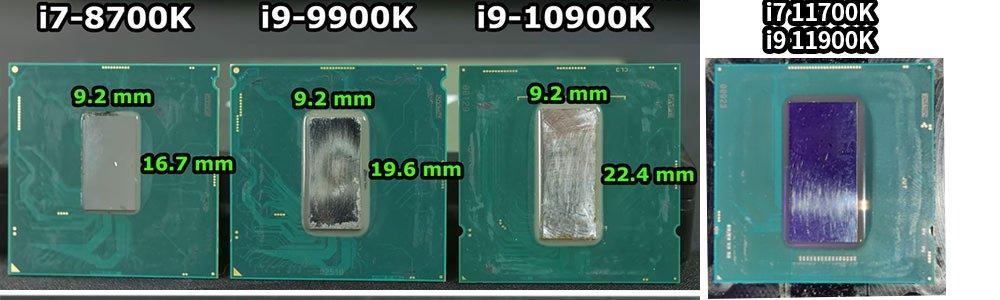 Intel die Rocket Lake-S comparison