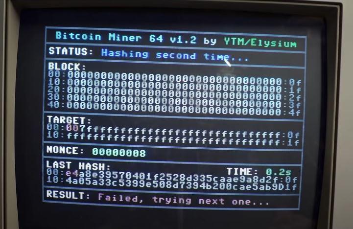 Minar Bitcoins Commodore 64