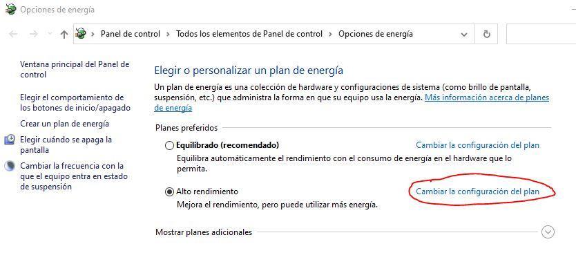 Opciones de energía