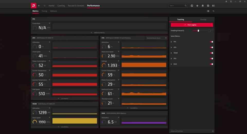 AMD Adrenalin Performance Metrics