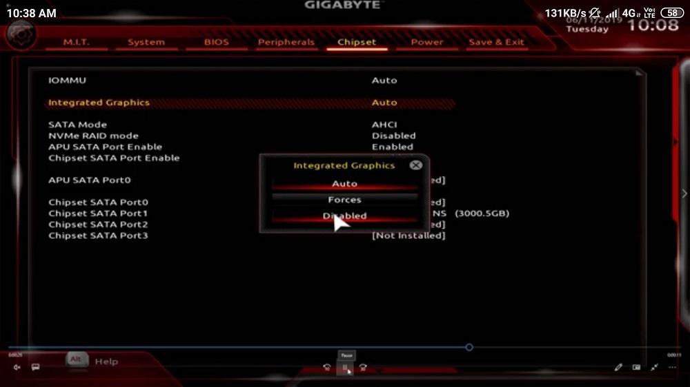 Désactiver iGPU Gigabyte