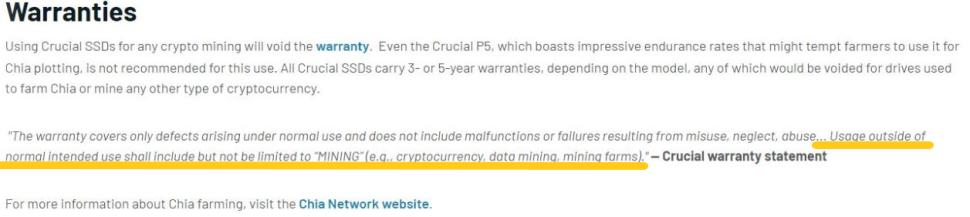 Garantía Crucial Chia SSD