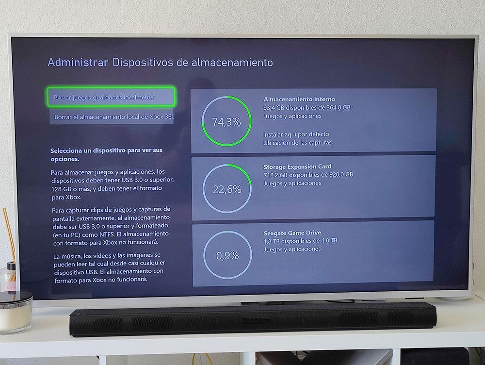 gestionare spațiu de stocare interfaz xbox series s pe ecran