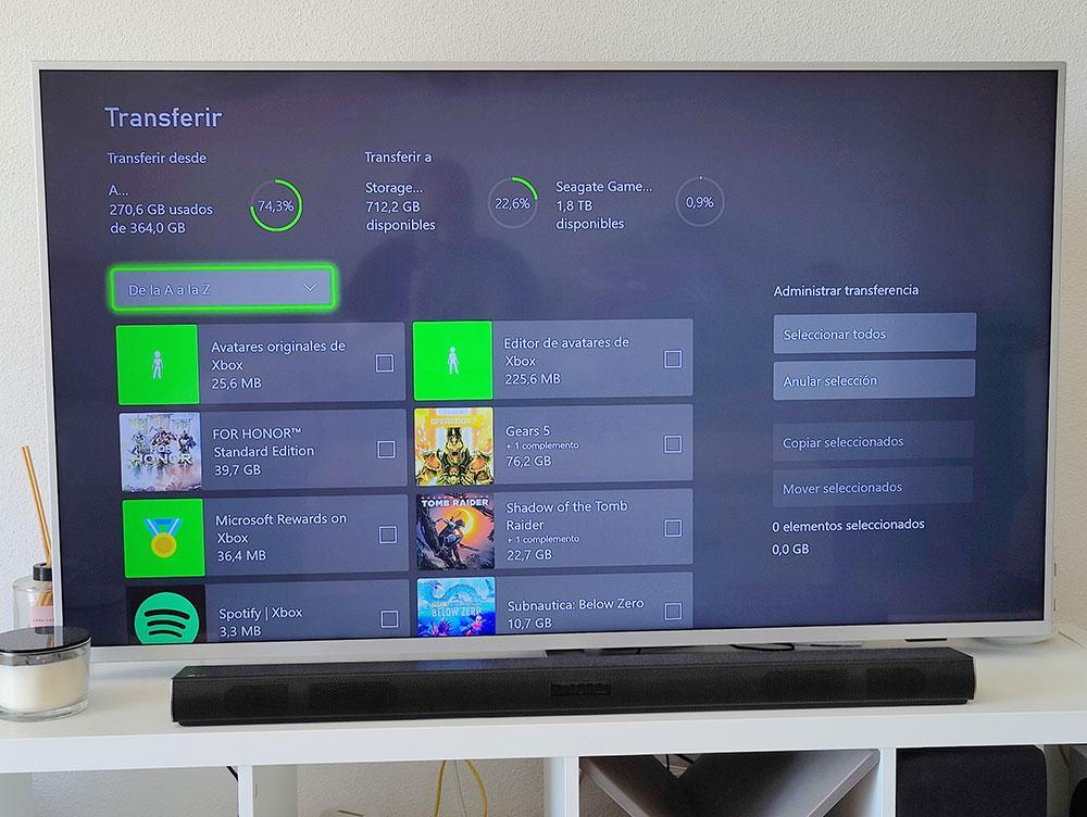 interfaz transferă jocuri de stocare externă xbox series s pe ecran