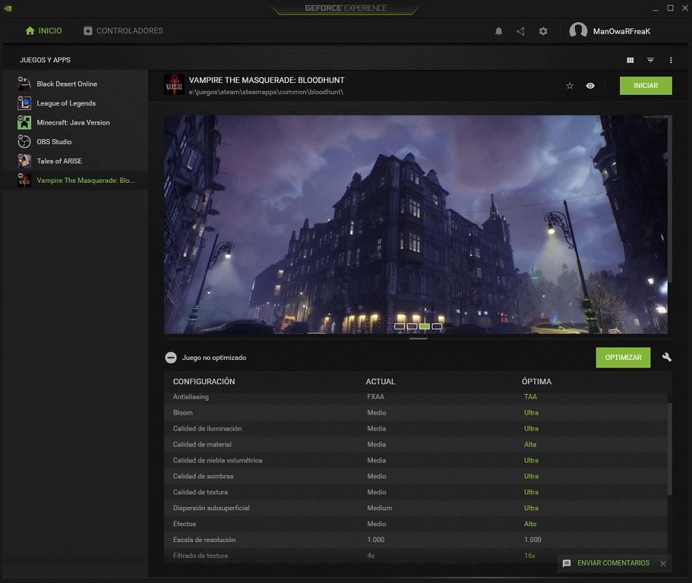 GeForce Experience juegos